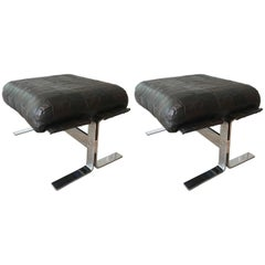 Pair of Chrome and Leather Ottomans by Kipp Stewart for Pace