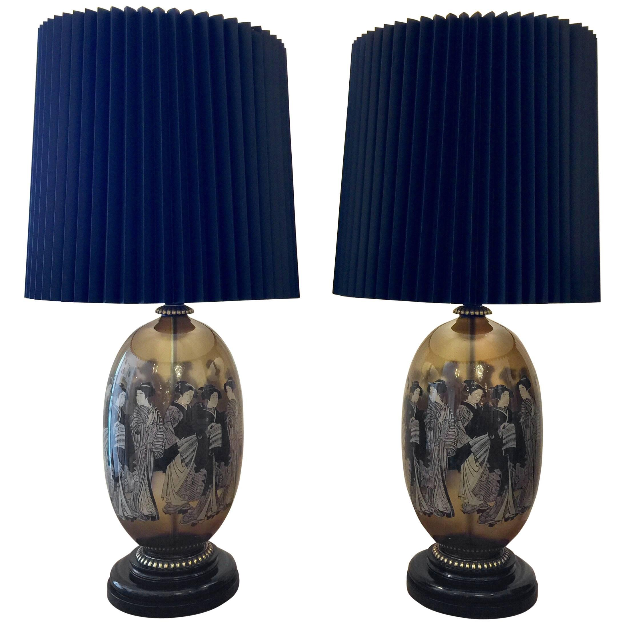 Decoupage Lamps , 17 For Sale on 1stdibs