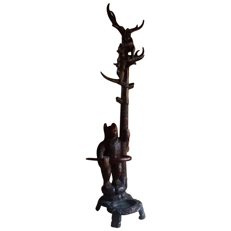 Continental Black Forest Carved Wood Bears Hallstand Coat Stand