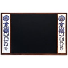 1980s Blue and White Chinoiserie Desk Pad with Leather Top