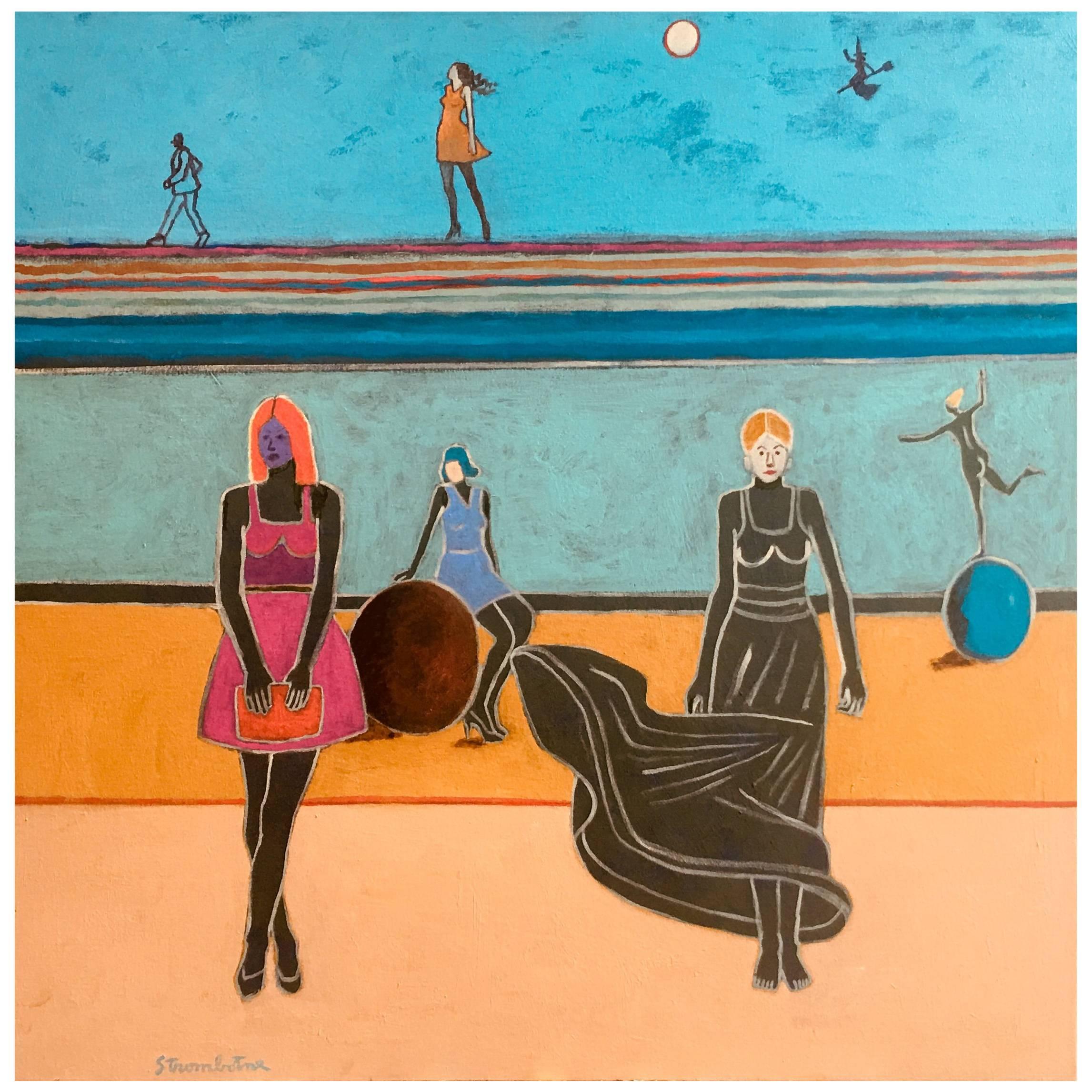 """James Strombotne painting """"Free Spirits"""" Acrylic on Canvas"""