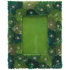 1970s Green Sequin Embroidered Floral Motif Picture Frame