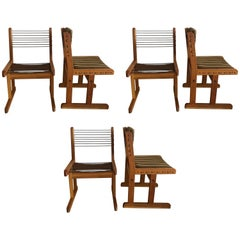 Danish 1970s Fumed Oak Rope and Striped Set of Six Dining Chairs