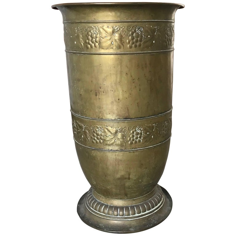 Antique Brass Umbrella and Cane Stand with Embossed Decor of Grapes and Leaves