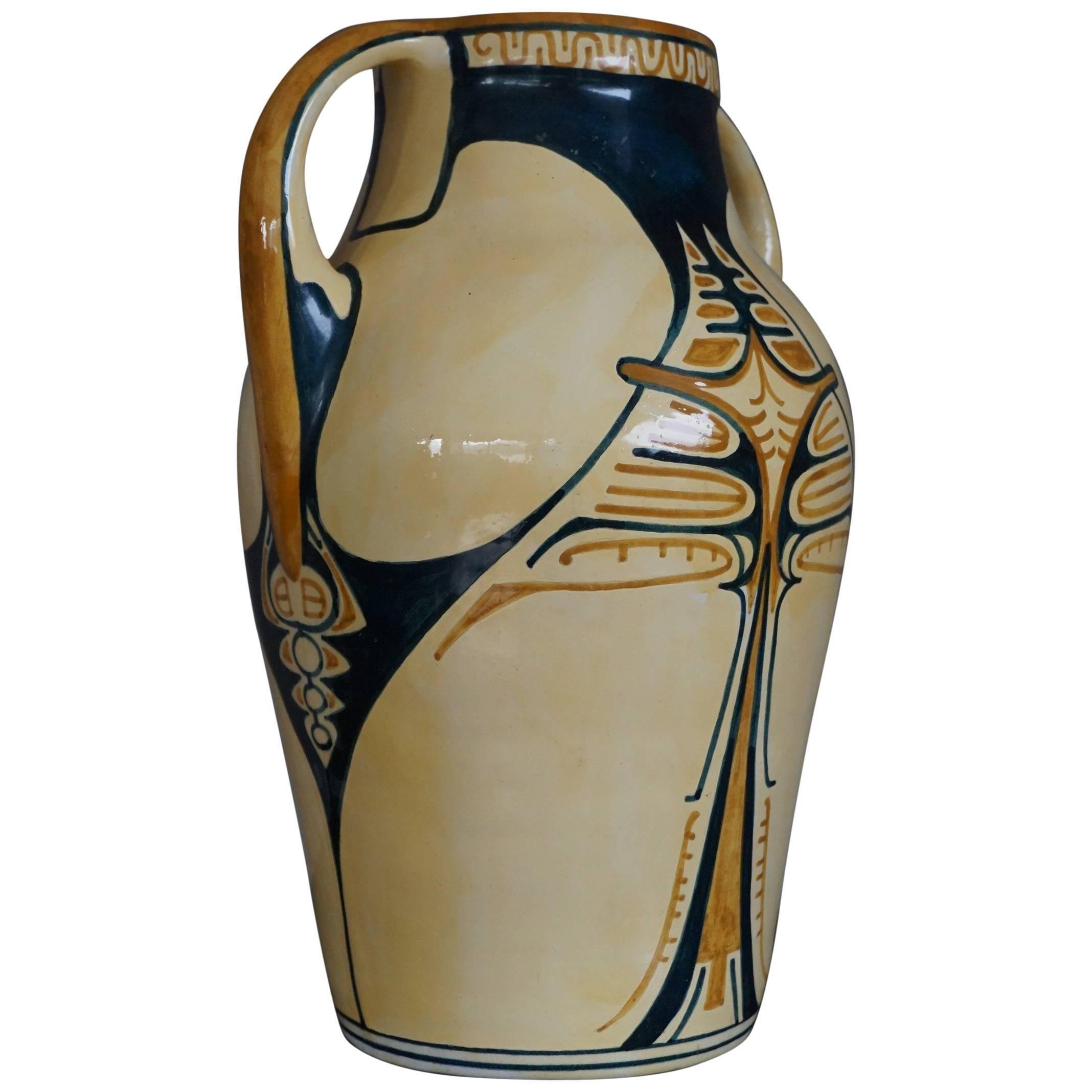 Antique and Hand-Painted Dutch Arts & Crafts DKP Dordtsche Kunst Pottery Vase