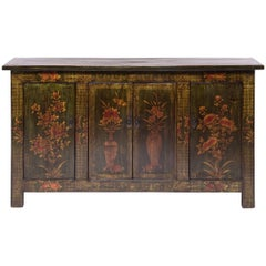 Early 20th Century Mongolian Floral Painted Coffer