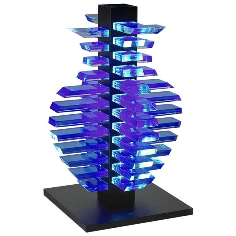 One-of-a-Kind Contemporary Architectural Light Vessel Led Glass Aluminium Lamp
