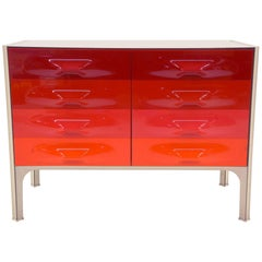 Raymond Loewy Six-Drawer Cabinet for DF 2000, Red to Orange Drawer Fronts