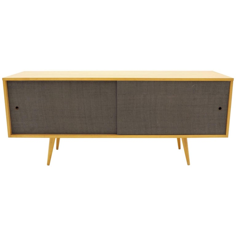 Paul McCobb Planner Group Cabinet, Solid Maple, Original Grasscloth Doors