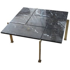 Poul Kjaerholm Style Brass and Marble Coffee Table