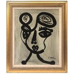 Peter Keil Expressionist Oil on Canvas Portrait 'Lover Boy'