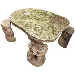 Vicenza Stone Garden Table and Stools, Italy, 1940s