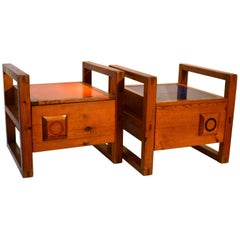 Pair of 1950s Modernist French Bed-side Tables with Orange and Blue Tops