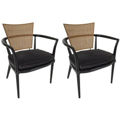 Pair of Walnut and Brass Armchairs with Cane Backs by Bert England for Johnson