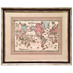 World Map by J.H. Colton 1860 Custom Framed with French Mat