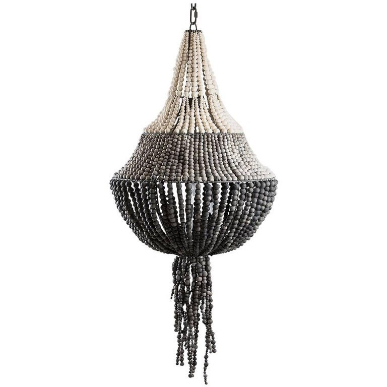 Klaylife, Swish, White, Large Handmade Clay Beaded Chandelier