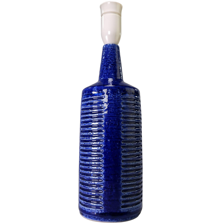 Per Linnemann-Schmidt for Palshus Danish Modern Cobalt Blue Handmade Lamp, 1960s