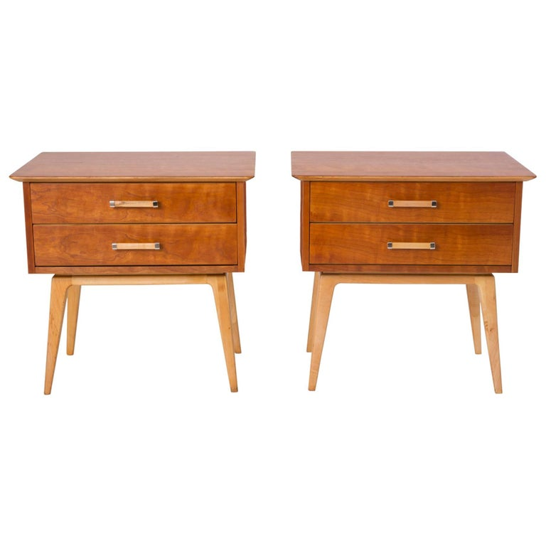 Pair of Cherrywood Nightstands by Renzo Rutili for Johnson Furniture