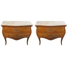 Pair of 18th Century, French Marquetry Inlaid Star Marble Commodes