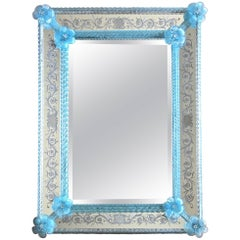 Murano Venetian Blue Floral Etched Wall Mirror