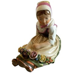 Royal Copenhagen Over-Glaze Flower Girl from Sea Land #12418