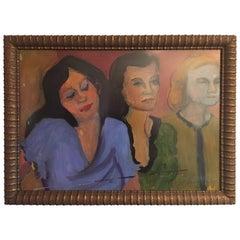 1950s Trio of Women Pastel Painting
