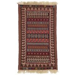 Vintage Turkish Kilim Rug, Small Flat-Weave Rug