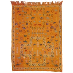 Vintage Turkish Kilim Rug with Tribal Style, Small Flat-Weave Rug