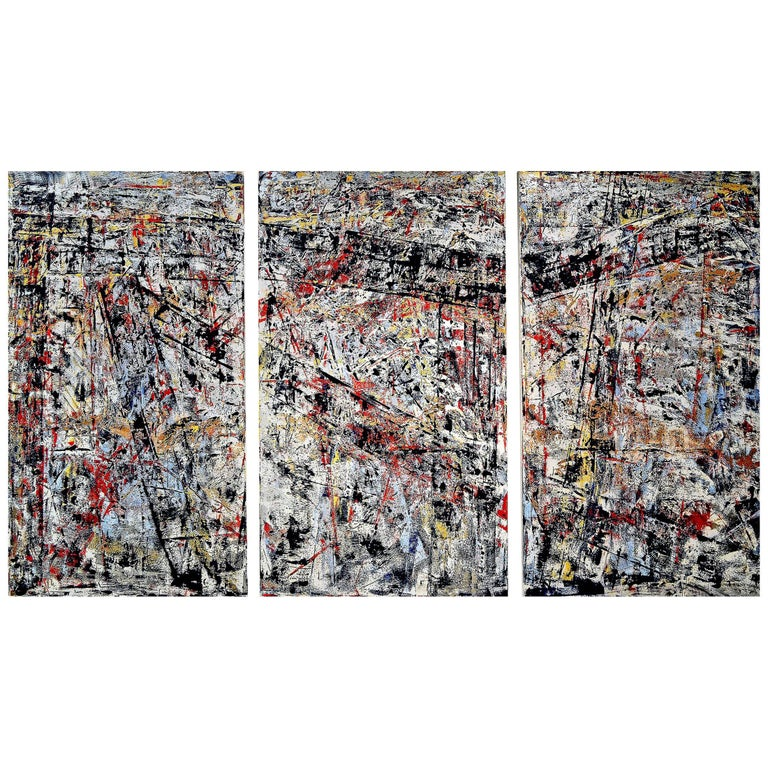 Abstract Oil on Canvas Triptych Titled Seen and Unseen by Aaron Finkbiner