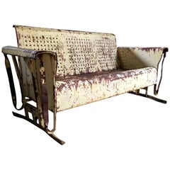 Vintage Metal Porch Glider Garden Swing Bench French Painted