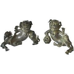 Pair of Very Fine Bronze Foo Dogs