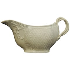 Salt Glaze Sauce Boat, Barley-Corn Pattern, English, circa 1755