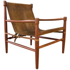 Uncommon Kaare Klint-Style Danish Teak and Leather Safari Chair