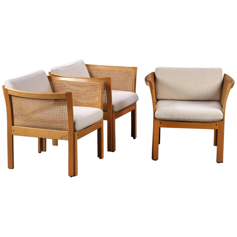 1960s Illum Vikkelso Set of Three DanisPlexus Easy Chairs in Oak and Grey Fabric For Sale