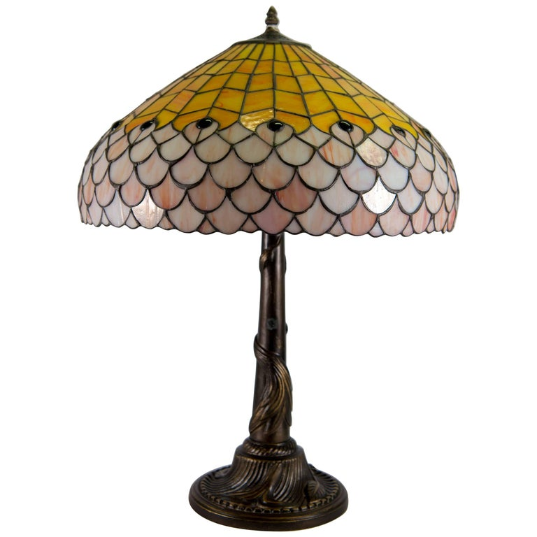 Tiffany Style Table Lamp with Stained Glass Shade on Bronze Base