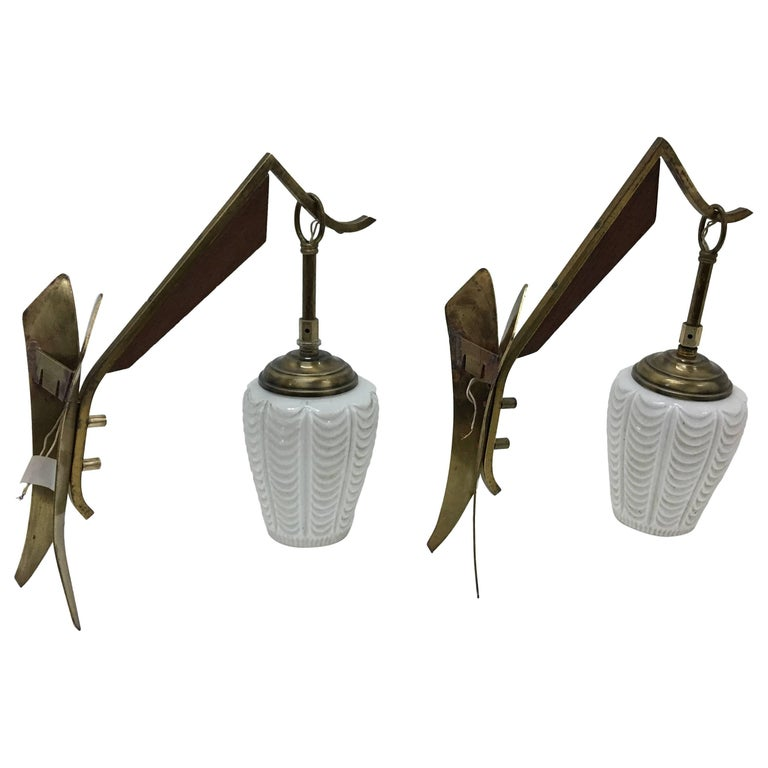 Set of Two Italian Mid-Century Modern Wall Sconces, circa 1950