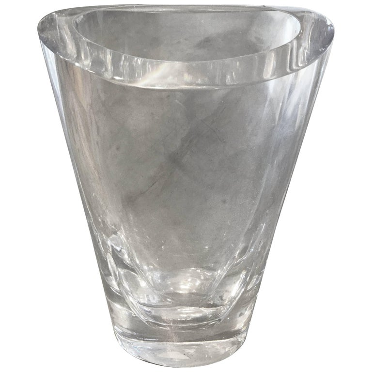 Orefors Mcm Clear Glass Vase Signed Sven Palmquist For Sale At 1stdibs