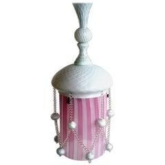 """Art Deco Pink and White """"Reticello"""" by Venini Murano Glass Ceiling Lamp"""