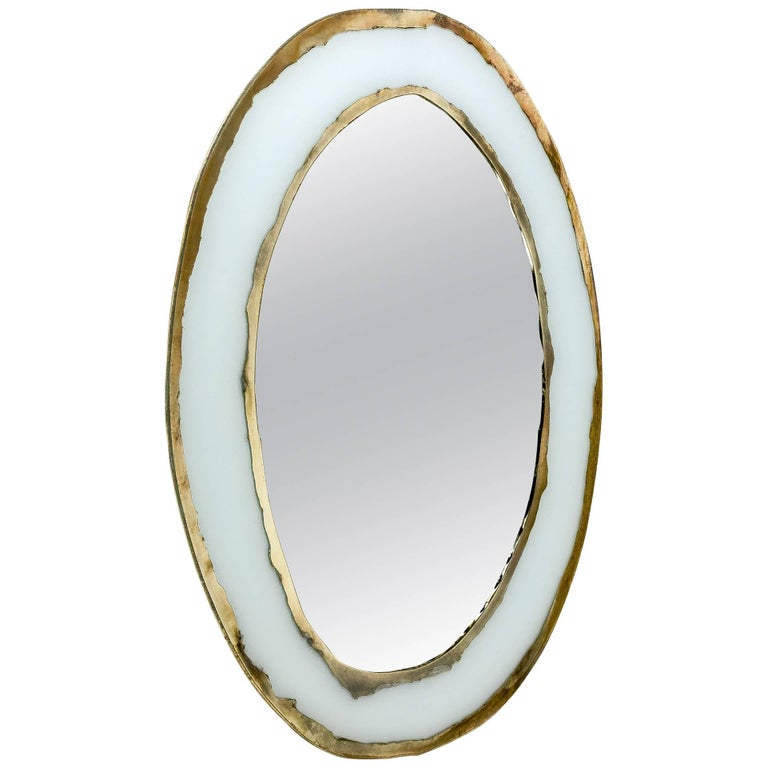 """""""Hello"""" Mirror, Art Glass Silvered, Opale White and Mirror, Birch Wood Handmade For Sale"""