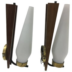Pair of Mid-Century Modern Italian Wall Sconces, circa 1950