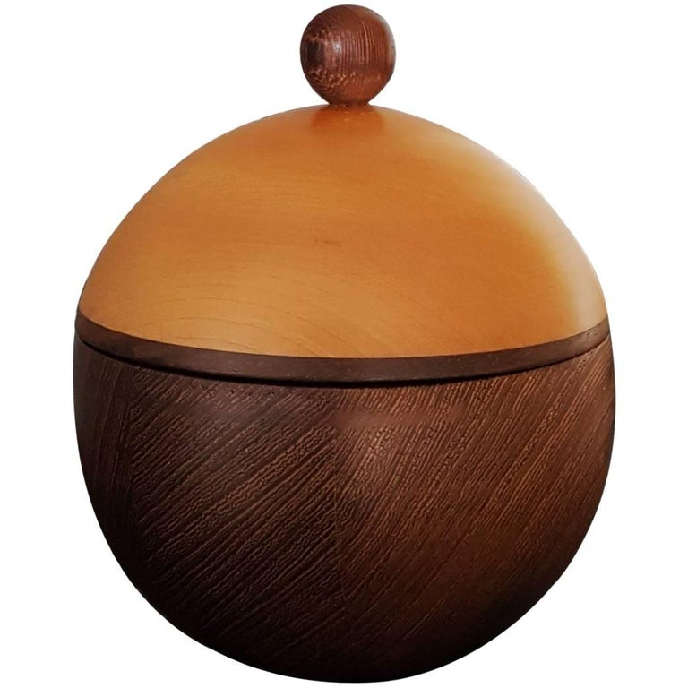 Scandinavian Natural Maple and Wengè Wood Spherical Box, Late 20th Century, 1980
