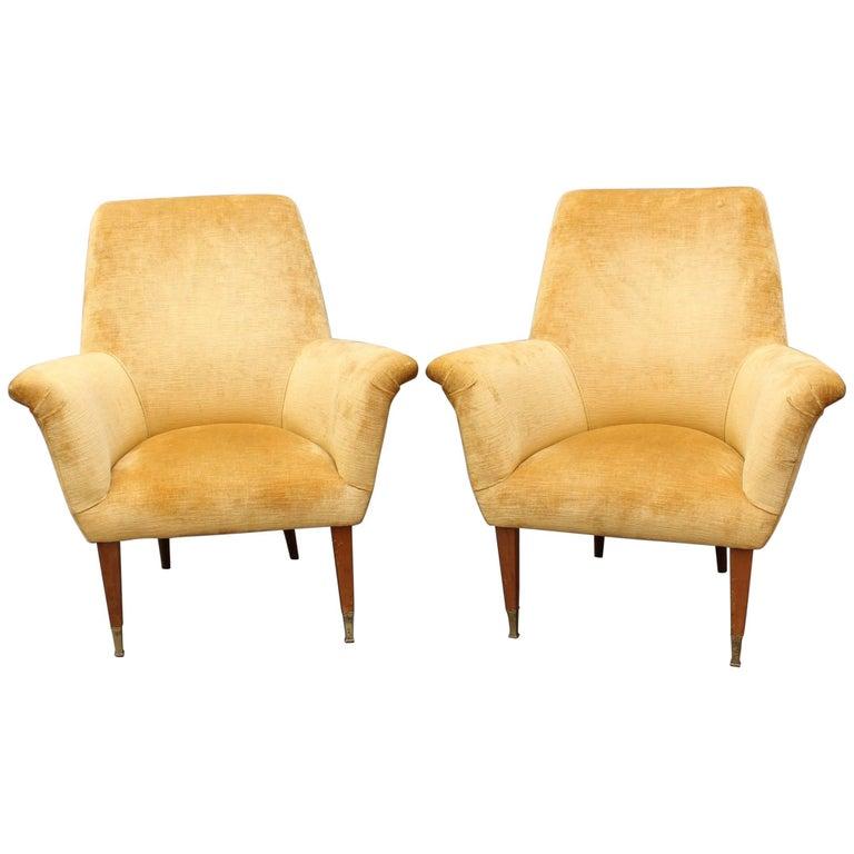 Pair of Mid-Century Italian Armchairs in Golden Velvet, circa 1950s