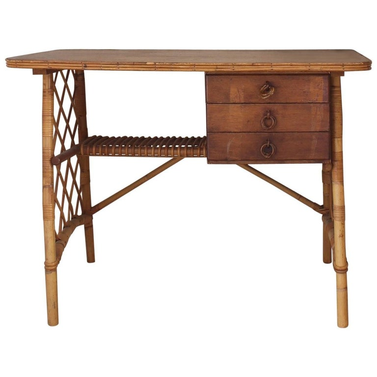 Rattan Desk Or Vanity Table By Louis Sognot Circa 1950s For