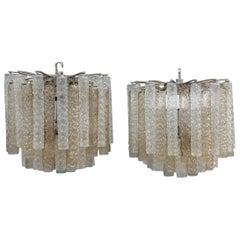 Pair of Chandelier Venini Design 1960s Murano Art Glass