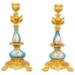 Antique Pair of Sèvres Porcelain Ormolu Candlesticks, 19th Century