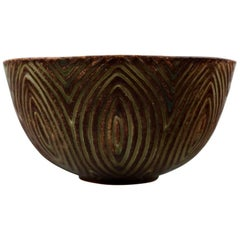 Royal Copenhagen Stoneware Bowl by Axel Salto in Fluted Style, Model No. 20720