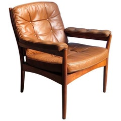 Danish Cognac Leather in a Mahogany Frame Armchair