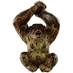 Knud Kyhn for Royal Copenhagen, Stoneware Figure, Monkey, Sung Glaze