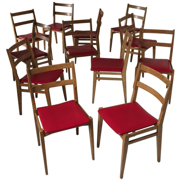 Set of 12 Dining Chairs Model 103 by Melchiorre Bega for Cassina