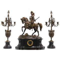 Theodore Gechter Mantle Clock with Candelabra in Bronze and with Marble, 1880